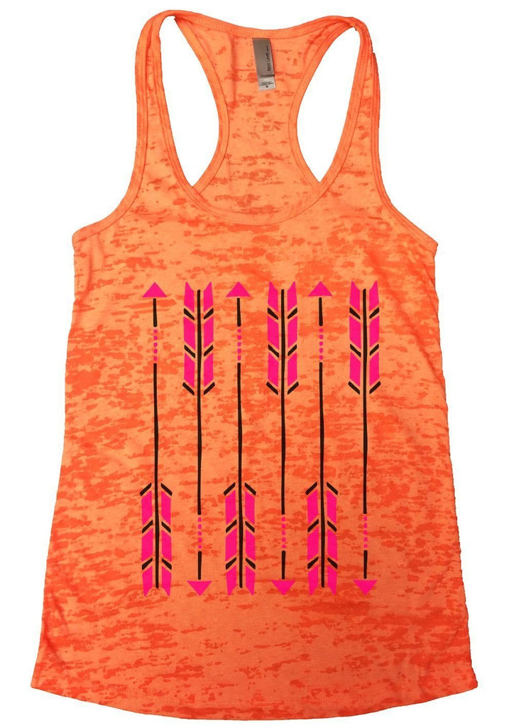 Arrow Burnout Tank Top By Funny Threadz Funny Shirt Small / Neon Orange