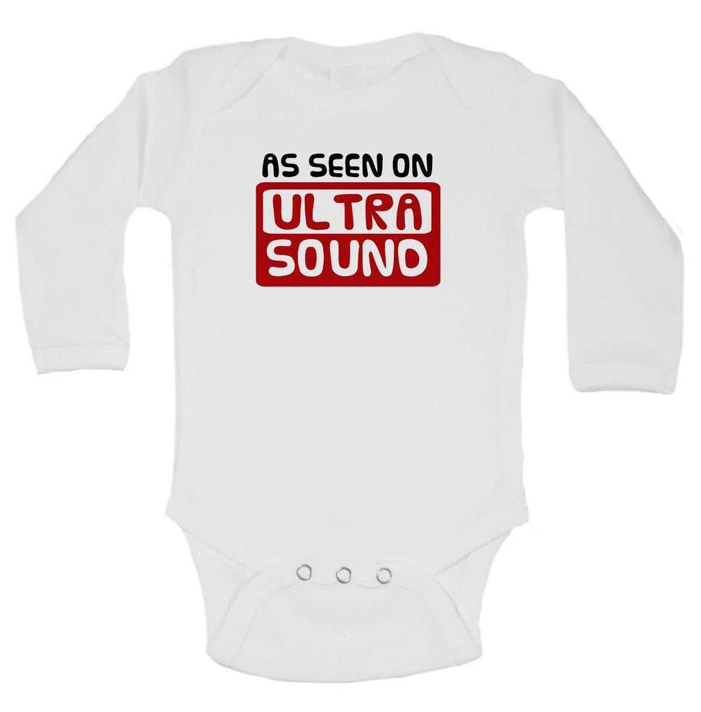 As Seen On Ultra Sound Funny Kids Onesie Funny Shirt Long Sleeve 0-3 Months
