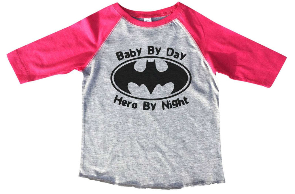 Baby By Day Hero By Night - Kids Baseball Tee Boys or Girls. Funny Shirt 2T Toddler / Pink