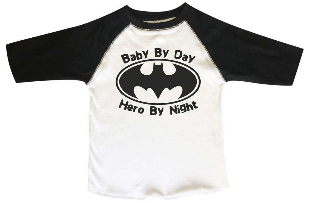 Baby By Day Hero By Night - Kids Baseball Tee Boys or Girls. Funny Shirt 2T Toddler / Black