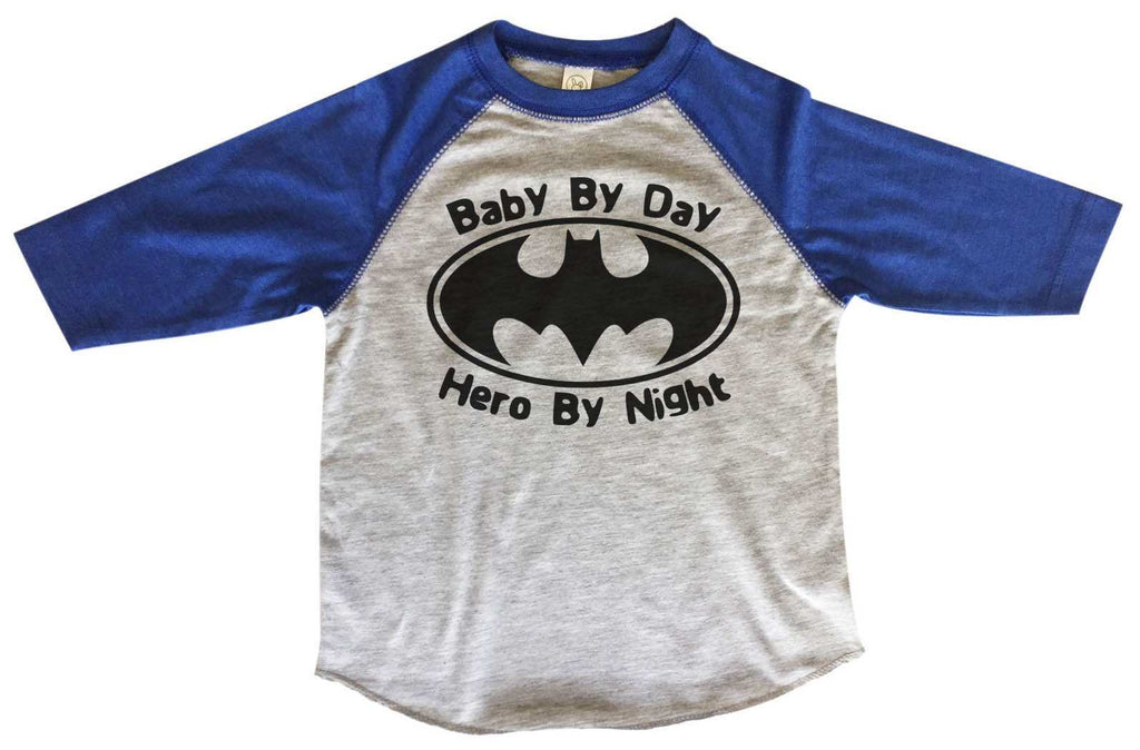 Baby By Day Hero By Night - Kids Baseball Tee Boys or Girls. Funny Shirt 2T Toddler / Blue