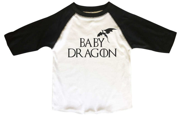 Baby Dragon Game of Thrones Kids Shirt - Kids Baseball Tee Boys or Girls. Funny Shirt 2T Toddler / Black
