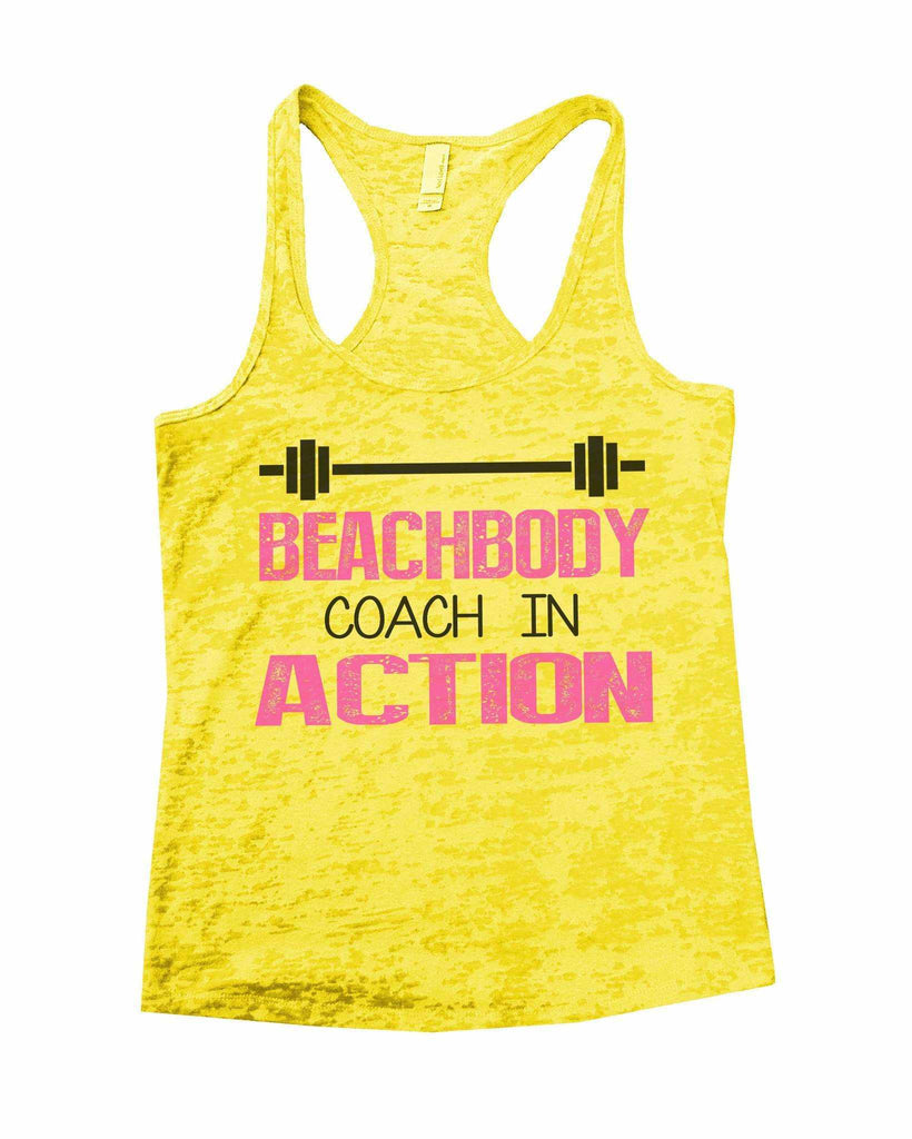 Beachbody Coach In Action Burnout Tank Top By Funny Threadz Funny Shirt Small / Yellow