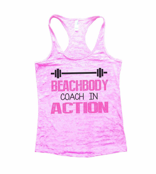Beachbody Coach In Action Burnout Tank Top By Funny Threadz Funny Shirt Small / Light Pink