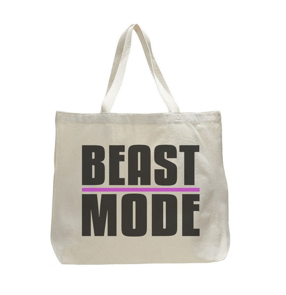 Beast Mode - Trendy Natural Canvas Bag - Funny and Unique - Tote Bag Funny Shirt