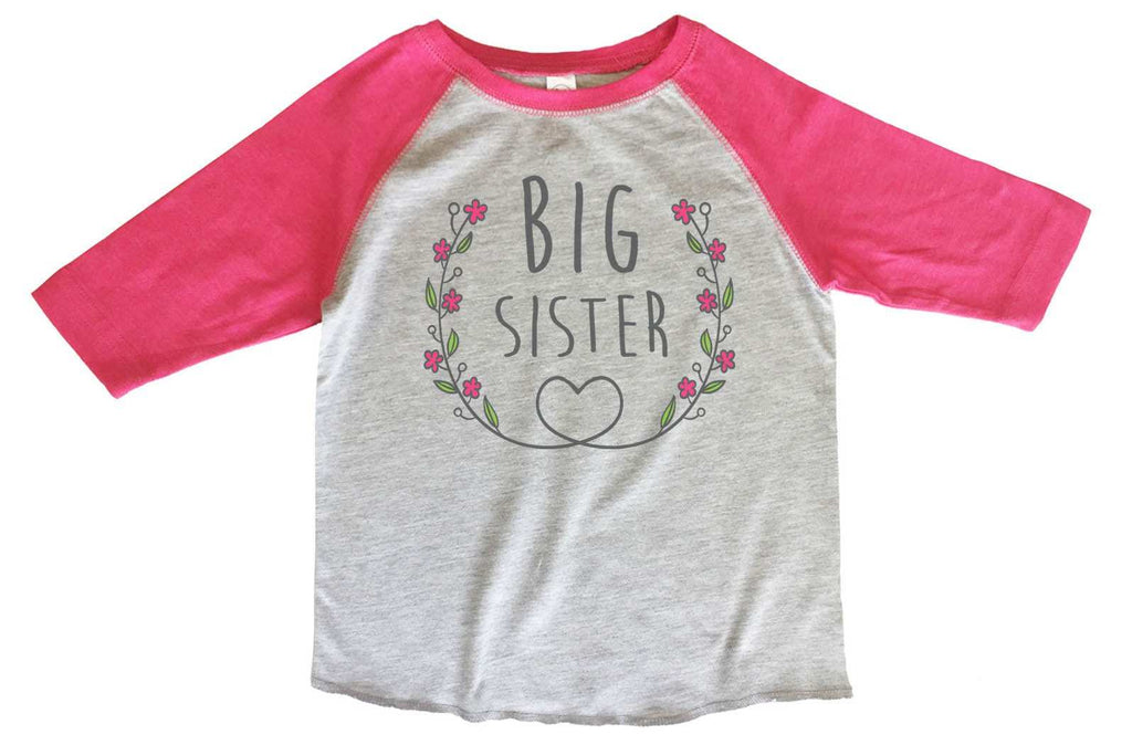 Big Sister BOYS OR GIRLS BASEBALL 3/4 SLEEVE RAGLAN - VERY SOFT TRENDY SHIRT B329 Funny Shirt 2T Toddler / Pink