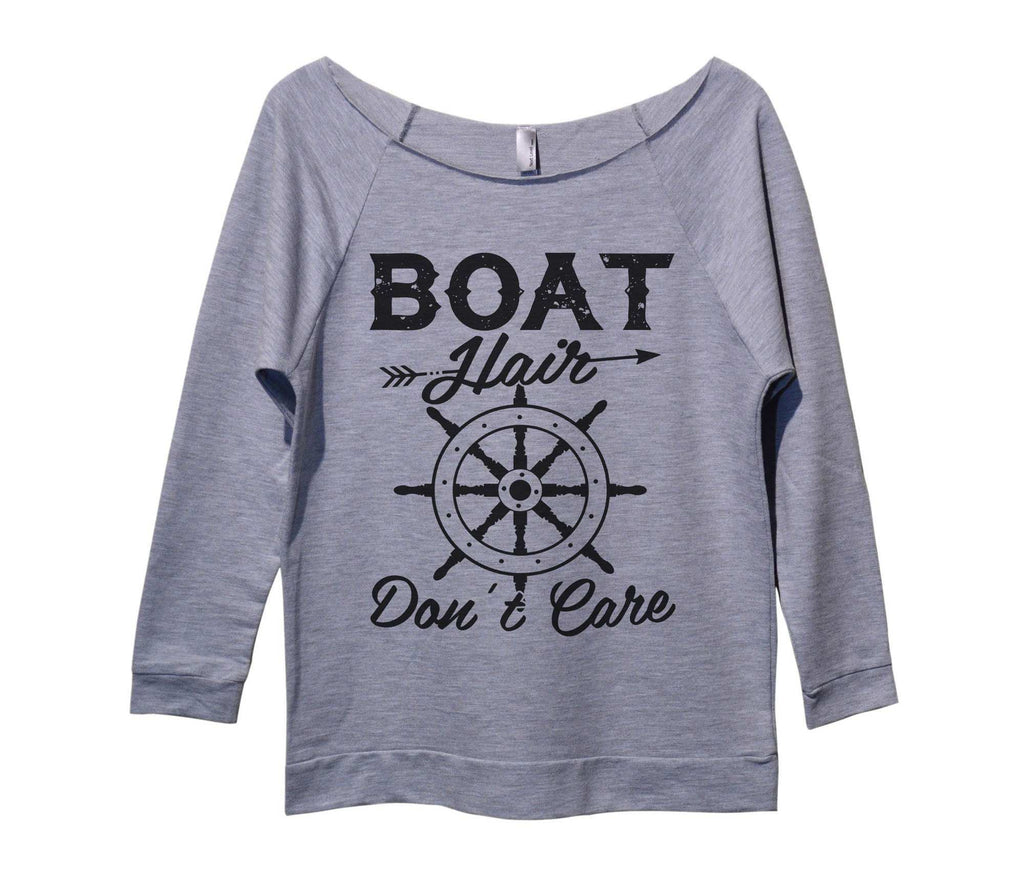 Boat Hair Don't Care Womens 3/4 Long Sleeve Vintage Raw Edge Shirt Funny Shirt Small / Grey
