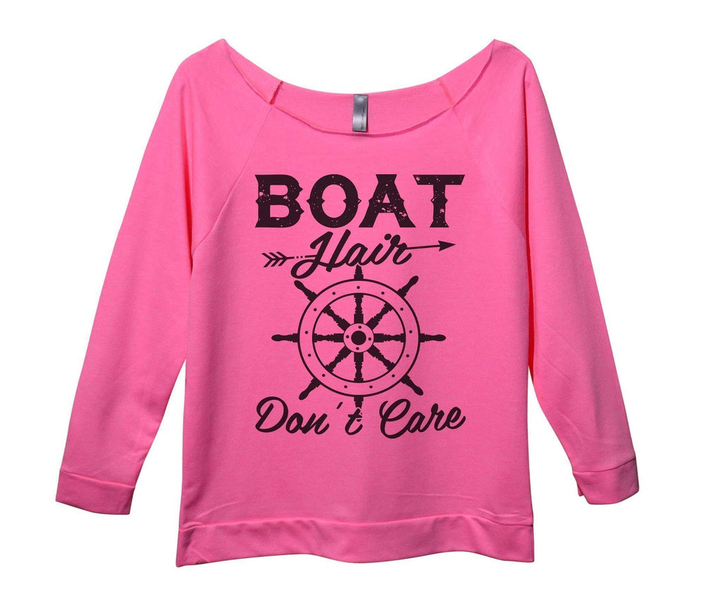 Boat Hair Don't Care Womens 3/4 Long Sleeve Vintage Raw Edge Shirt Funny Shirt Small / Pink
