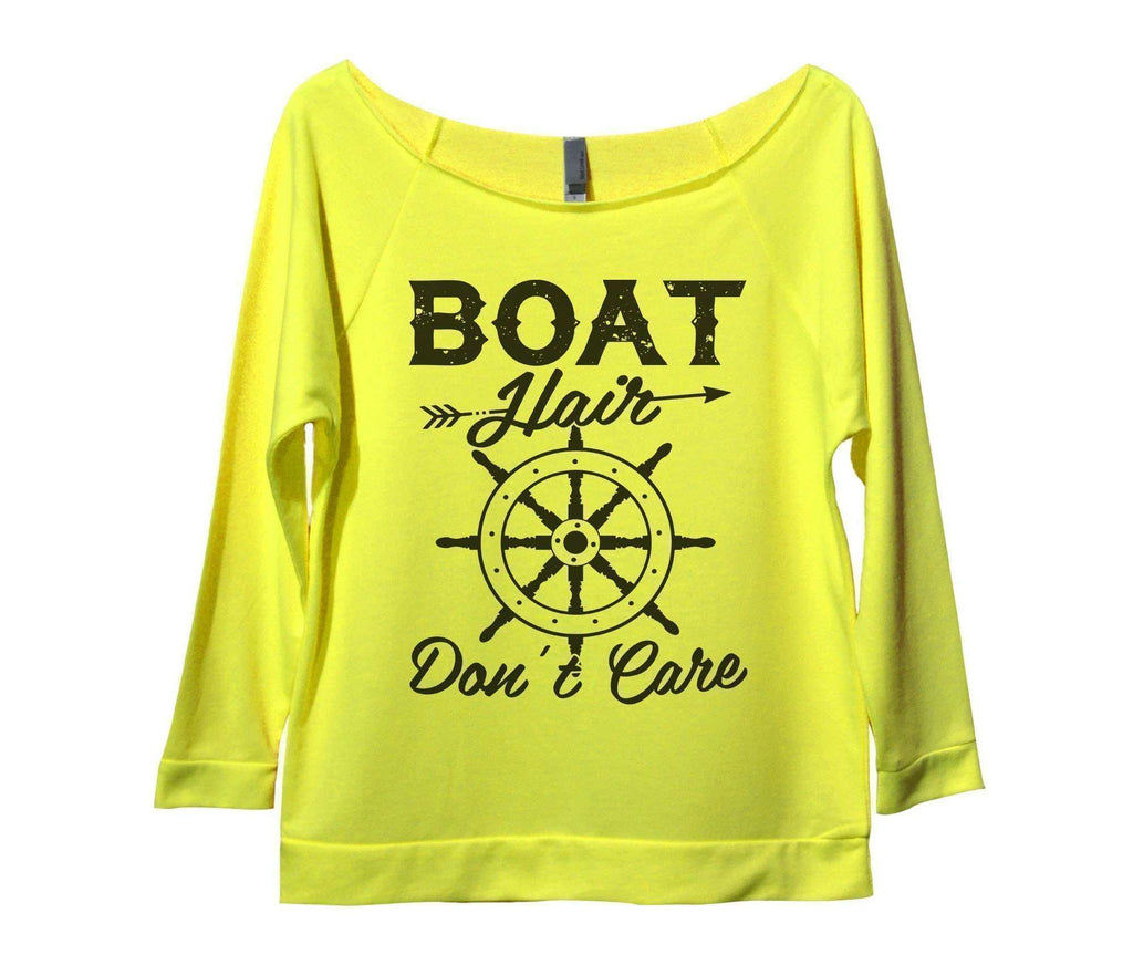Boat Hair Don't Care Womens 3/4 Long Sleeve Vintage Raw Edge Shirt Funny Shirt Small / Neon Yellow