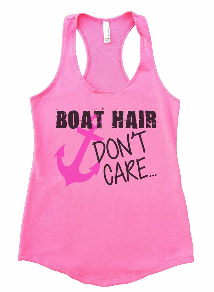 Boat Hair Don't Care Womens Workout Tank Top Funny Shirt Small / Heather Pink