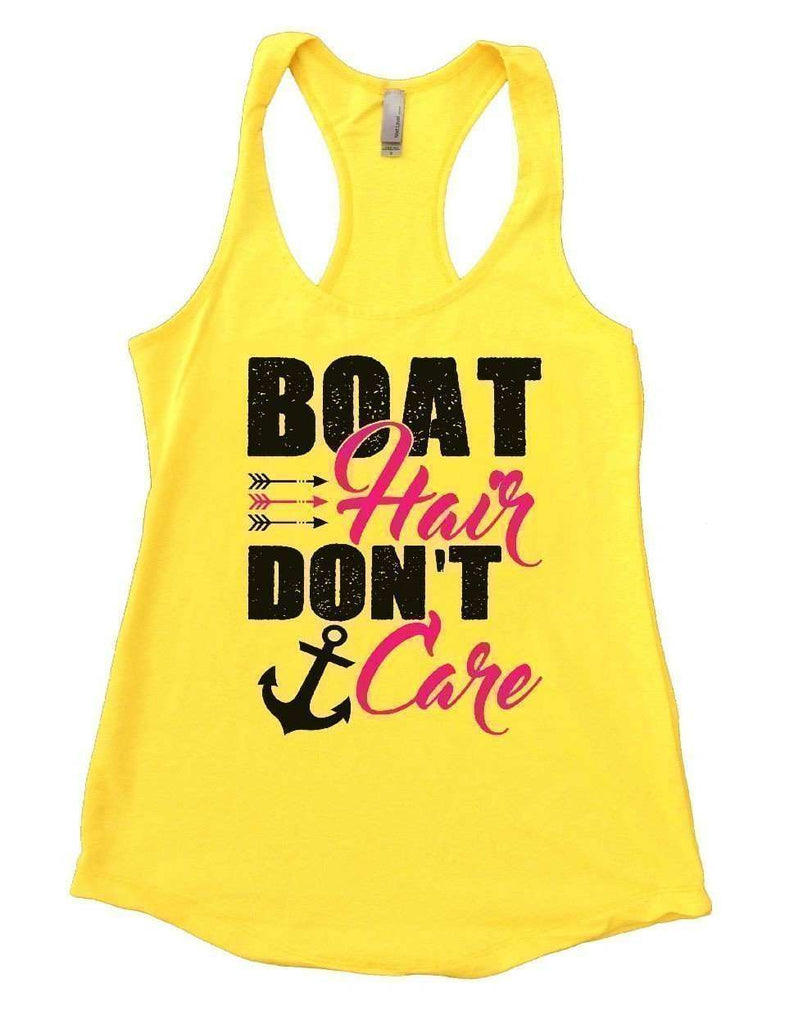 BOAT Hair DON'T Care Womens Workout Tank Top Funny Shirt Small / Yellow
