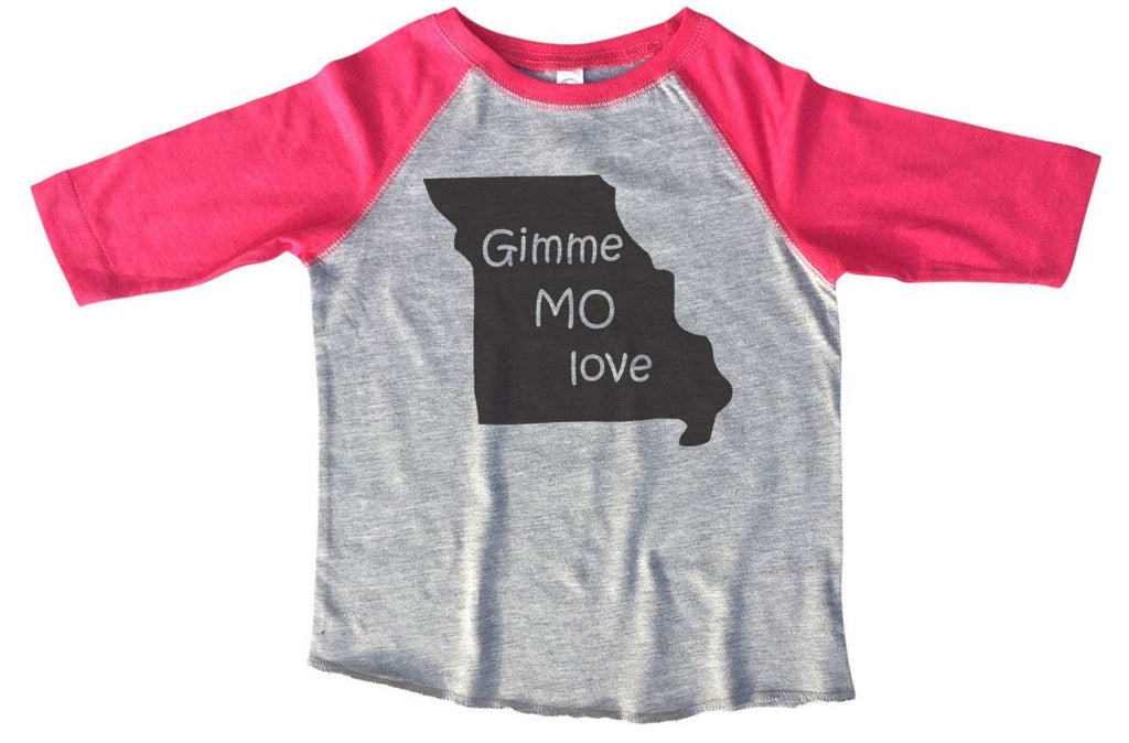 Born in Missouri BOYS OR GIRLS BASEBALL 3/4 SLEEVE RAGLAN - VERY SOFT TRENDY SHIRT B287 Funny Shirt 2T Toddler / Pink