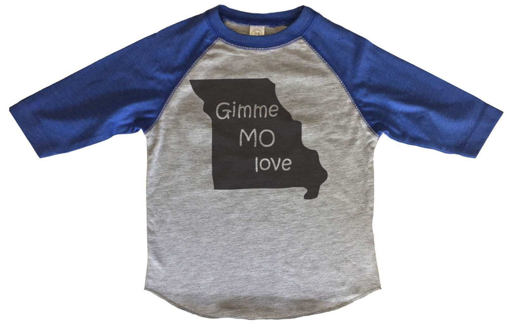 Born in Missouri BOYS OR GIRLS BASEBALL 3/4 SLEEVE RAGLAN - VERY SOFT TRENDY SHIRT B287 Funny Shirt 2T Toddler / Blue