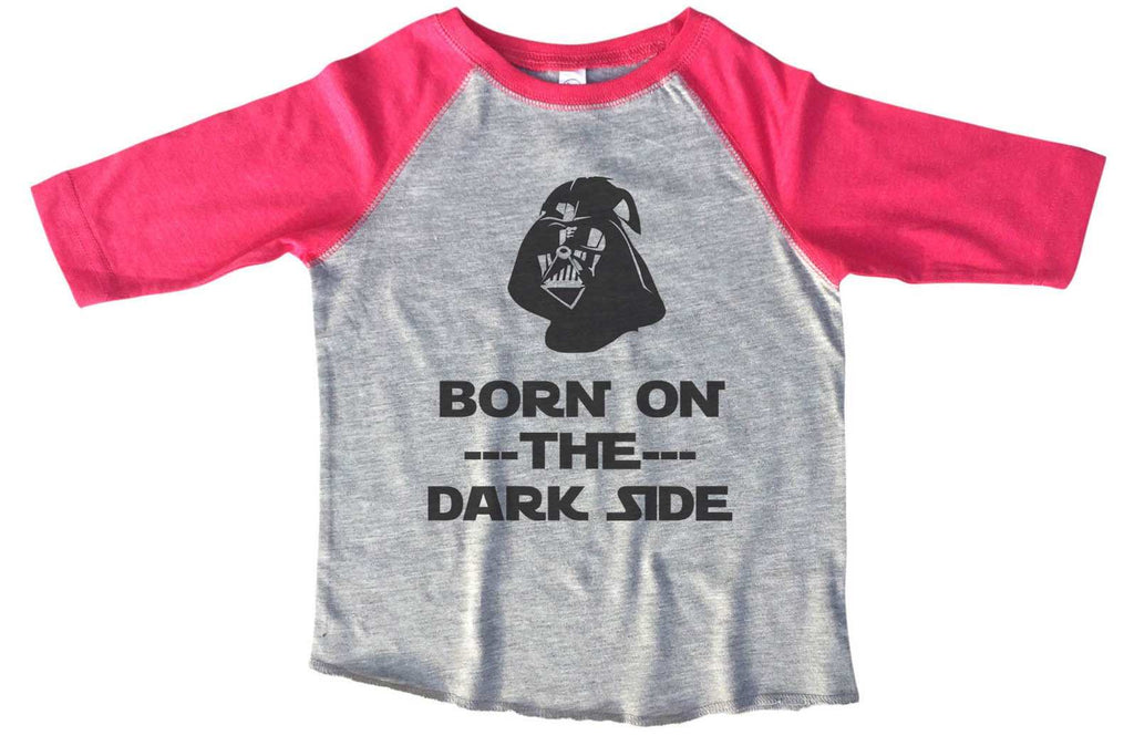 Born On The Dark Side BOYS OR GIRLS BASEBALL 3/4 SLEEVE RAGLAN - VERY SOFT TRENDY SHIRT B375 Funny Shirt 2T Toddler / Pink