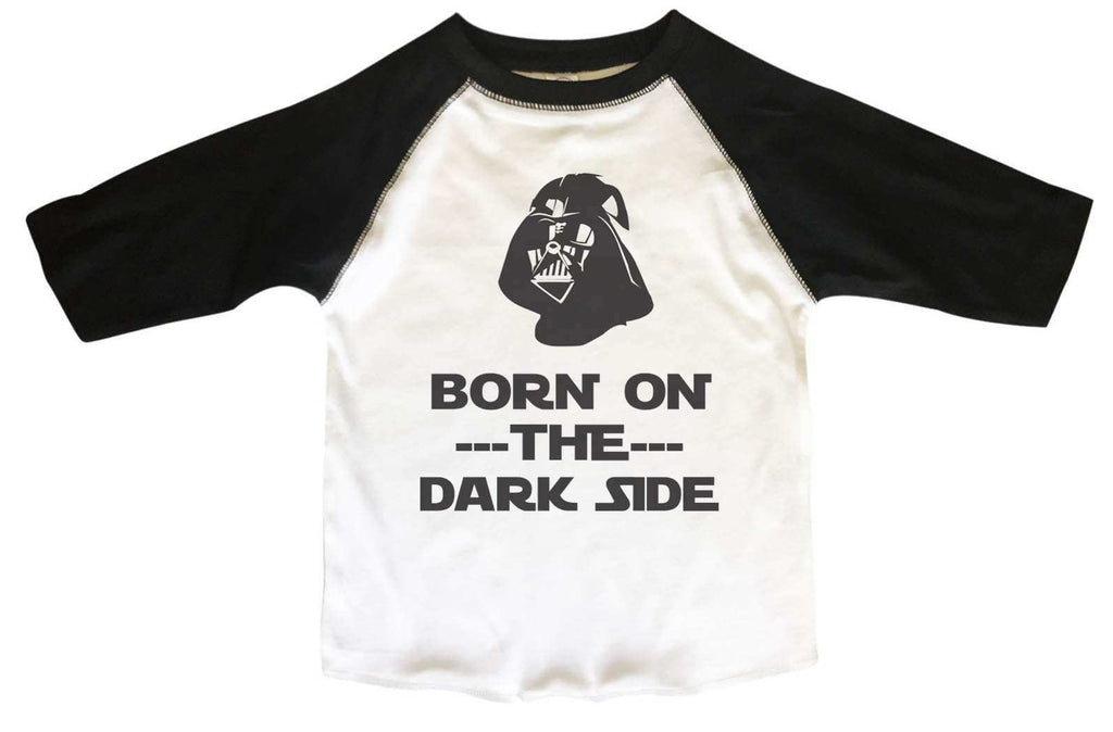 Born On The Dark Side BOYS OR GIRLS BASEBALL 3/4 SLEEVE RAGLAN - VERY SOFT TRENDY SHIRT B375 Funny Shirt 2T Toddler / Black