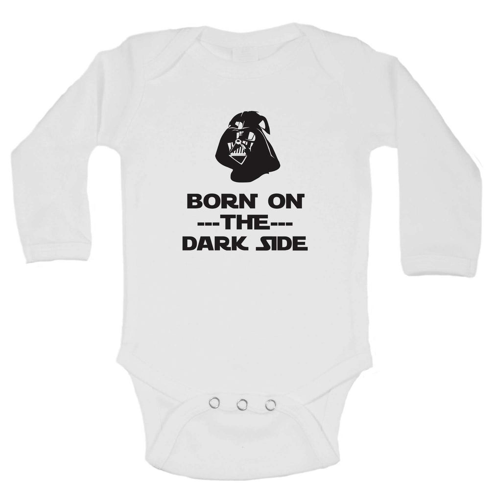 Born On The Dark Side Funny Kids Onesie Funny Shirt Long Sleeve 0-3 Months