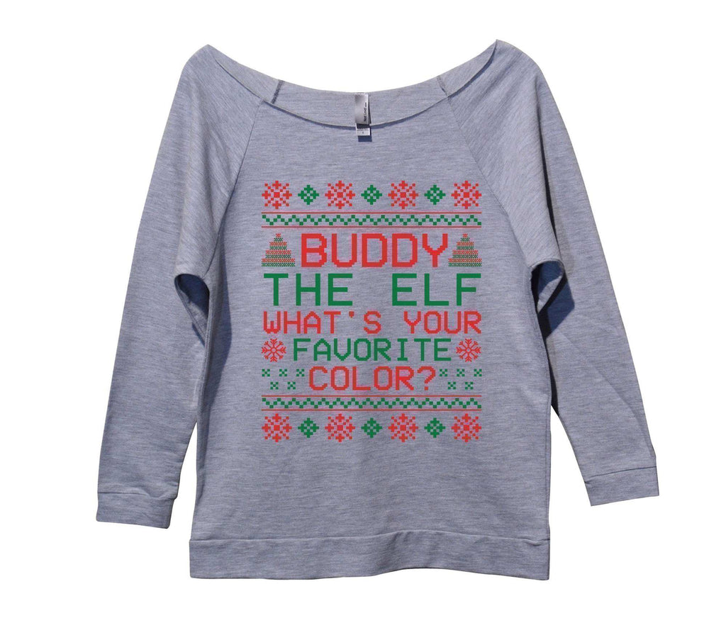 Buddy The Elf What's Your Favorite Color? Womens 3/4 Long Sleeve Vintage Raw Edge Shirt Funny Shirt Small / Grey