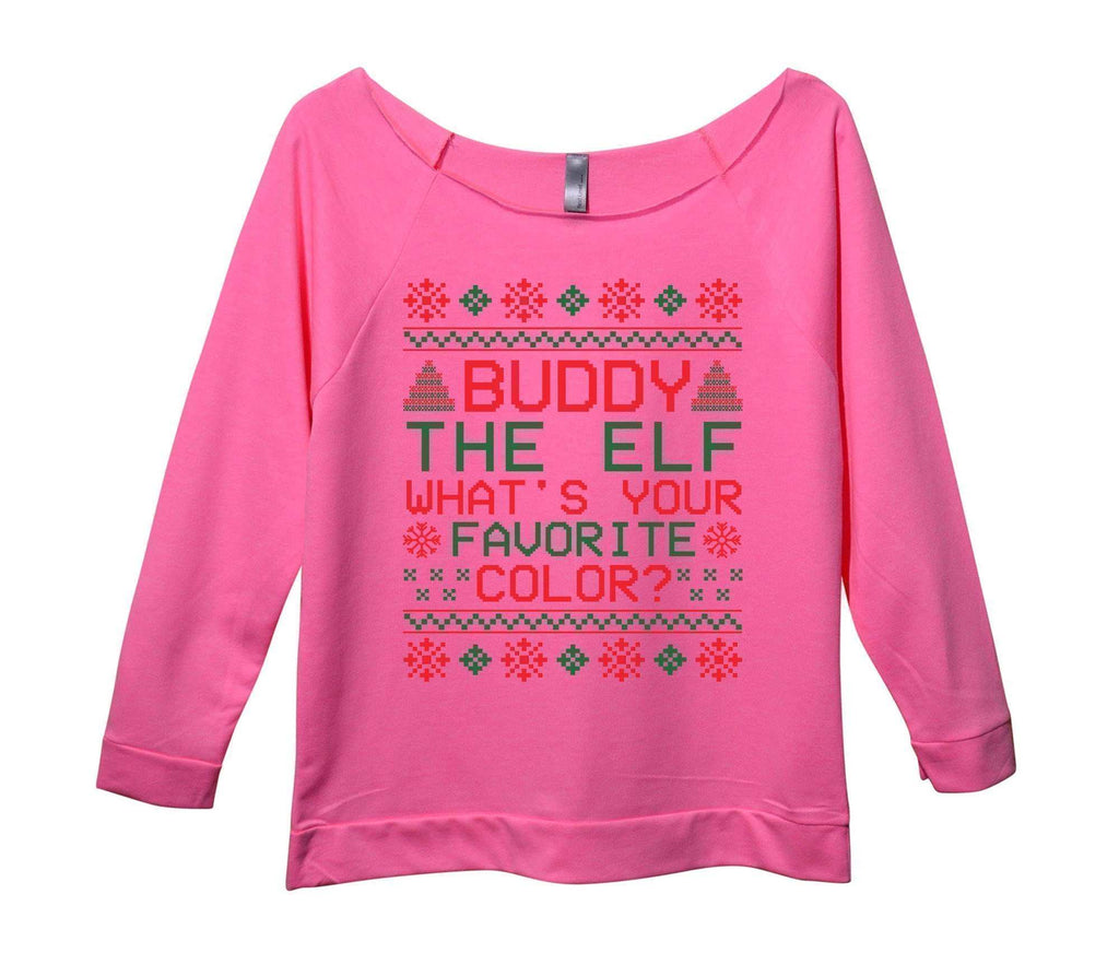 Buddy The Elf What's Your Favorite Color? Womens 3/4 Long Sleeve Vintage Raw Edge Shirt Funny Shirt Small / Pink