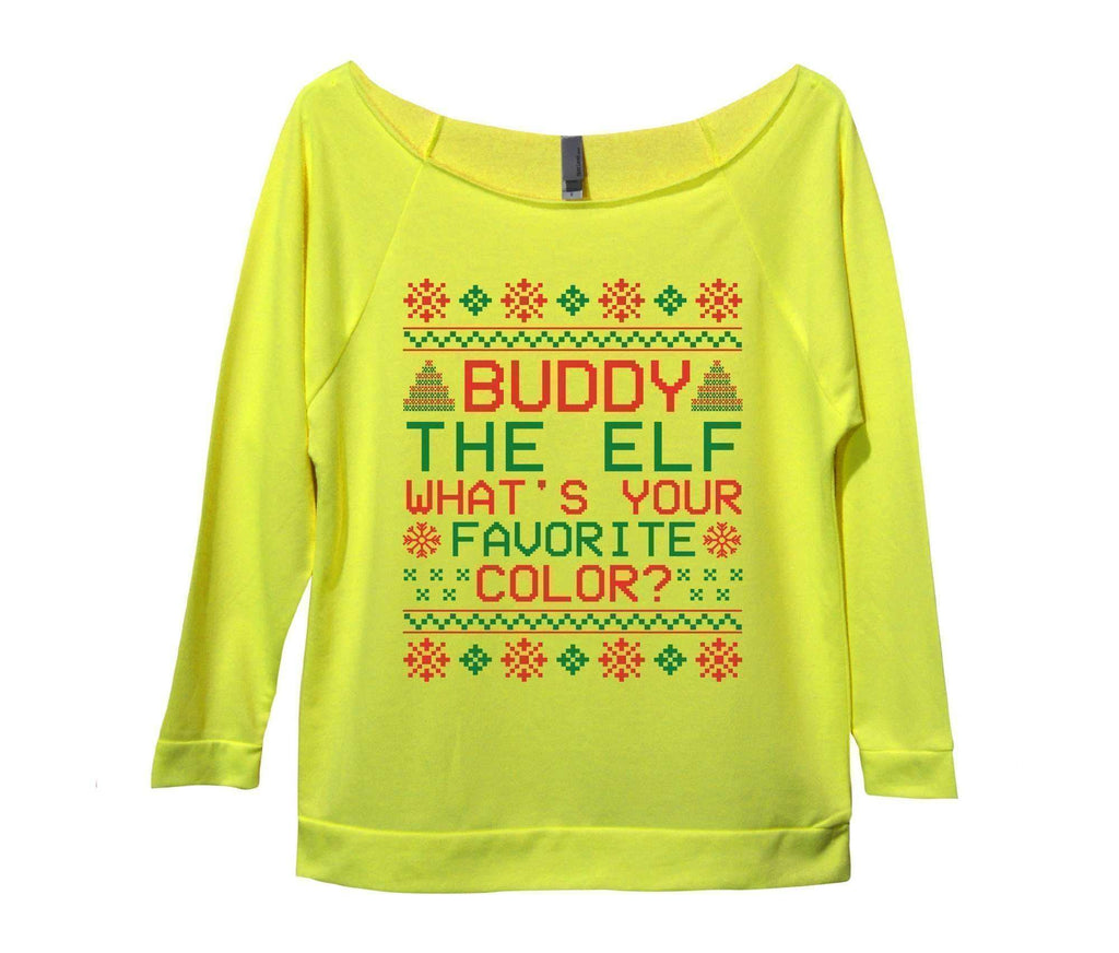 Buddy The Elf What's Your Favorite Color? Womens 3/4 Long Sleeve Vintage Raw Edge Shirt Funny Shirt Small / Neon Yellow