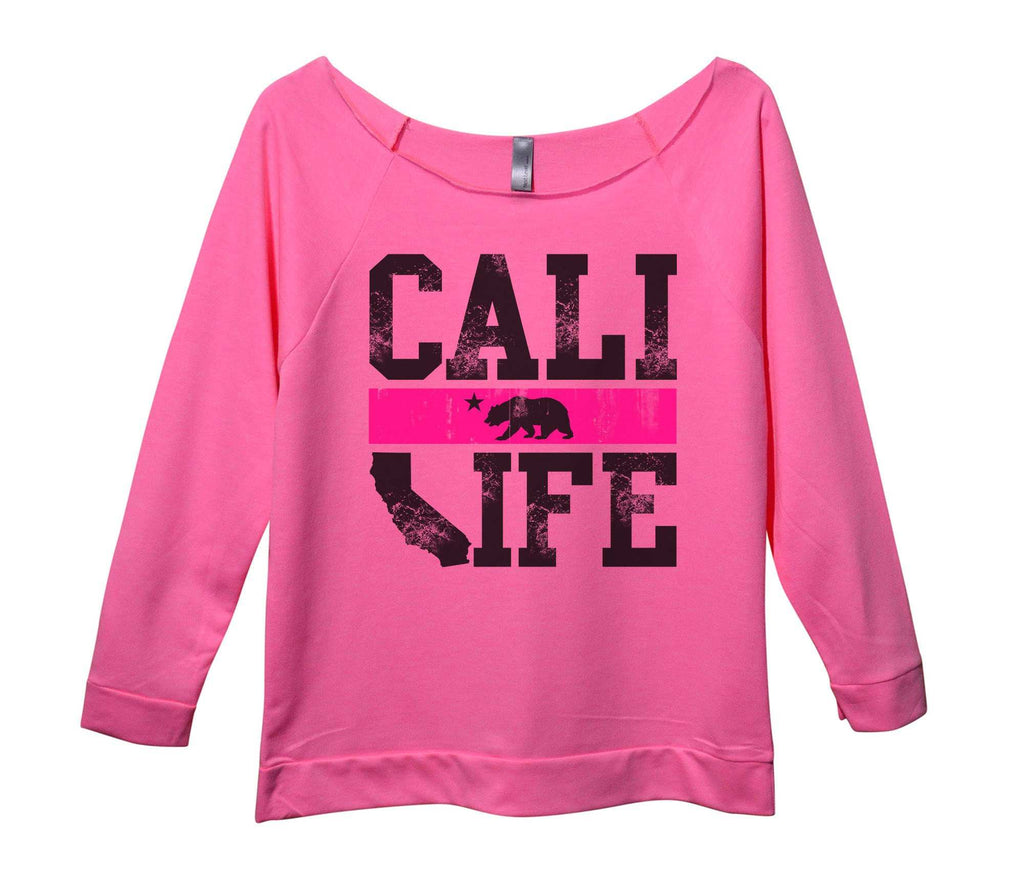 Cali Life Womens 3/4 Long Sleeve Vintage Raw Edge Shirt Funny Shirt Small / Pink