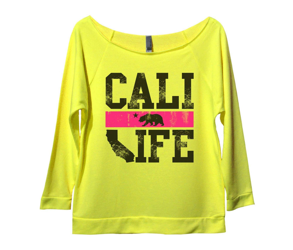 Cali Life Womens 3/4 Long Sleeve Vintage Raw Edge Shirt Funny Shirt Small / Neon Yellow