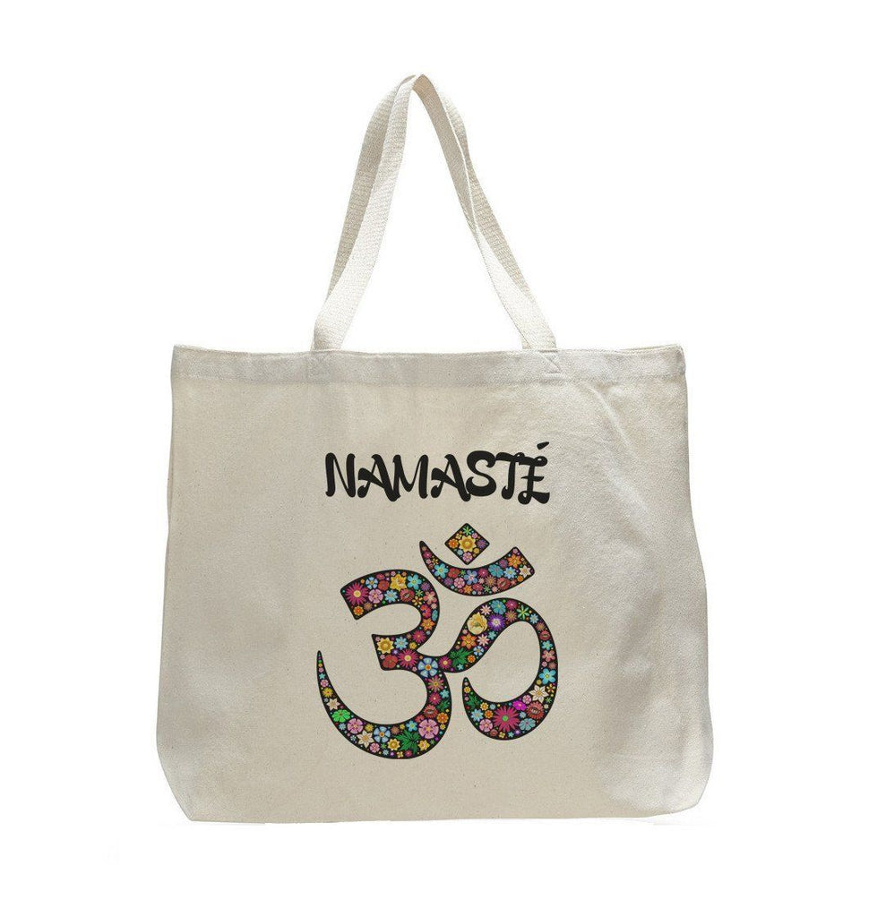 Canvas Namaste Tote Bag - Trendy Natural Canvas Bag - Funny and Unique - Tote Bag Funny Shirt