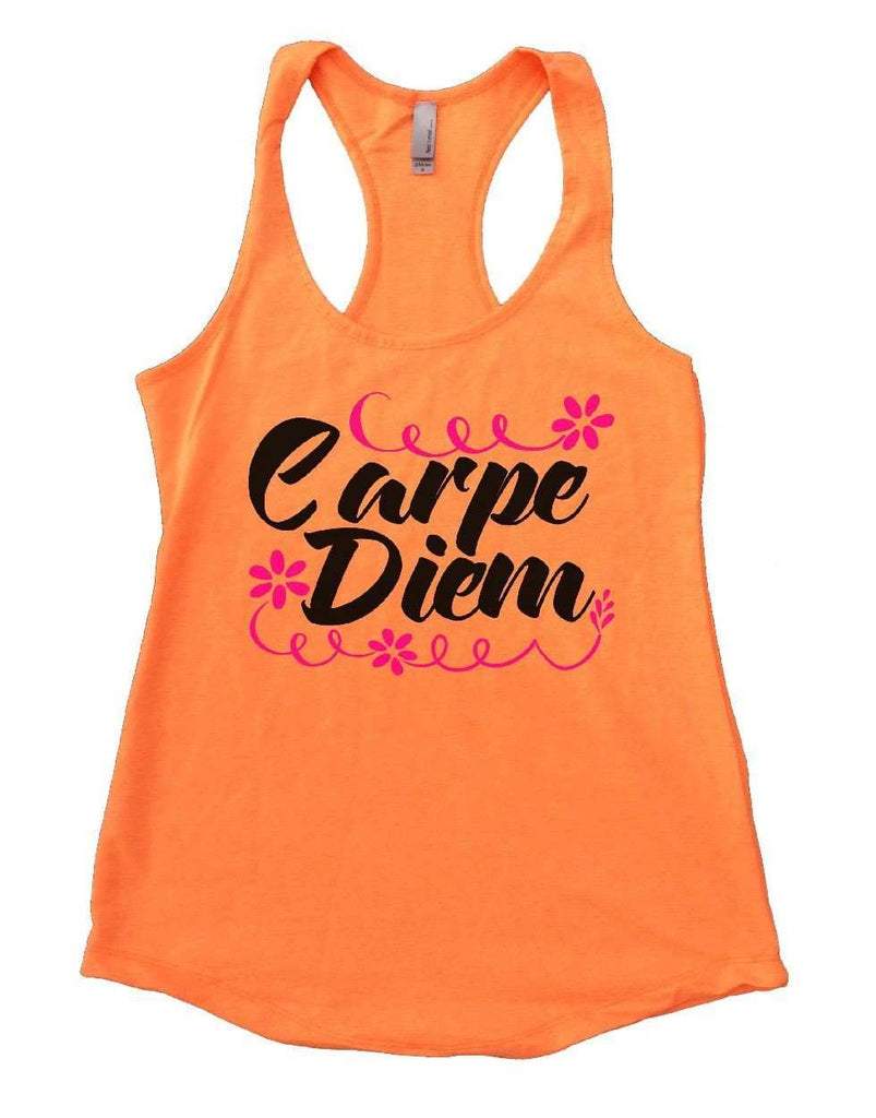 Carpe Diem Womens Workout Tank Top Funny Shirt Small / Neon Orange