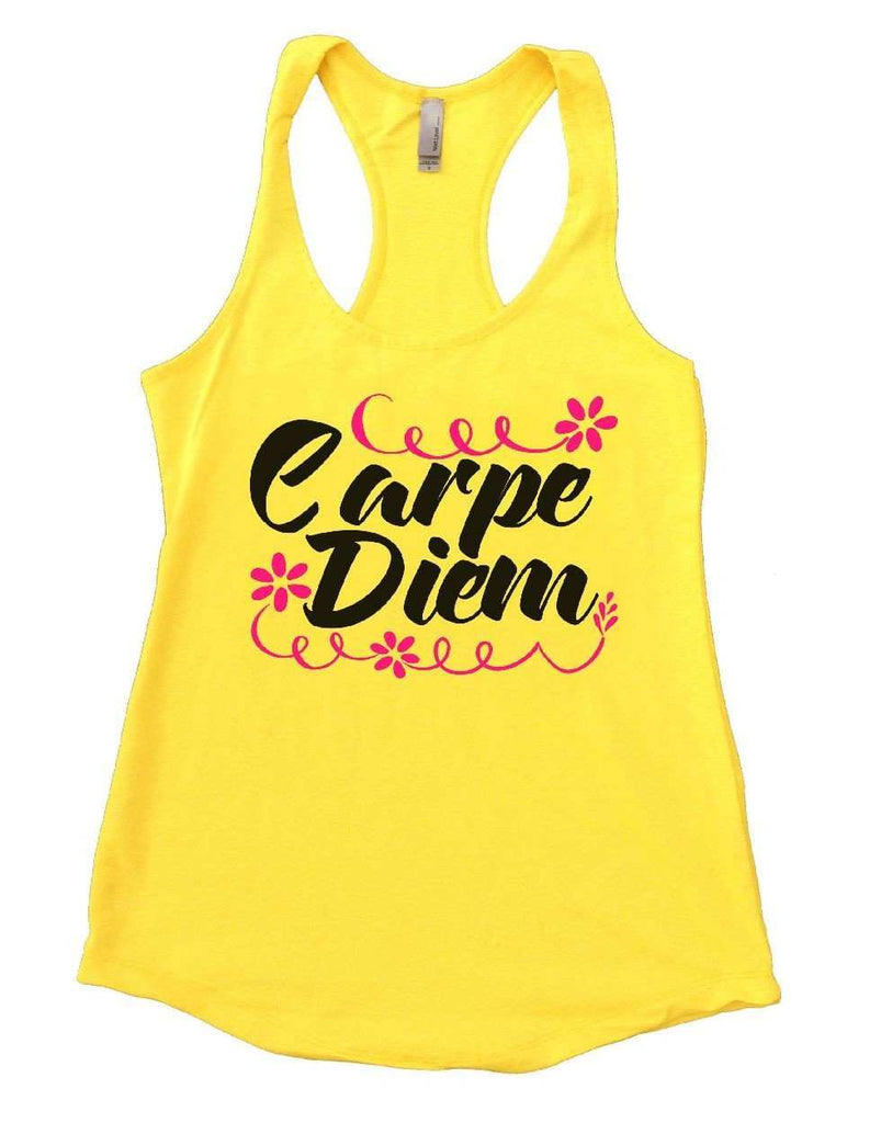 Carpe Diem Womens Workout Tank Top Funny Shirt Small / Yellow