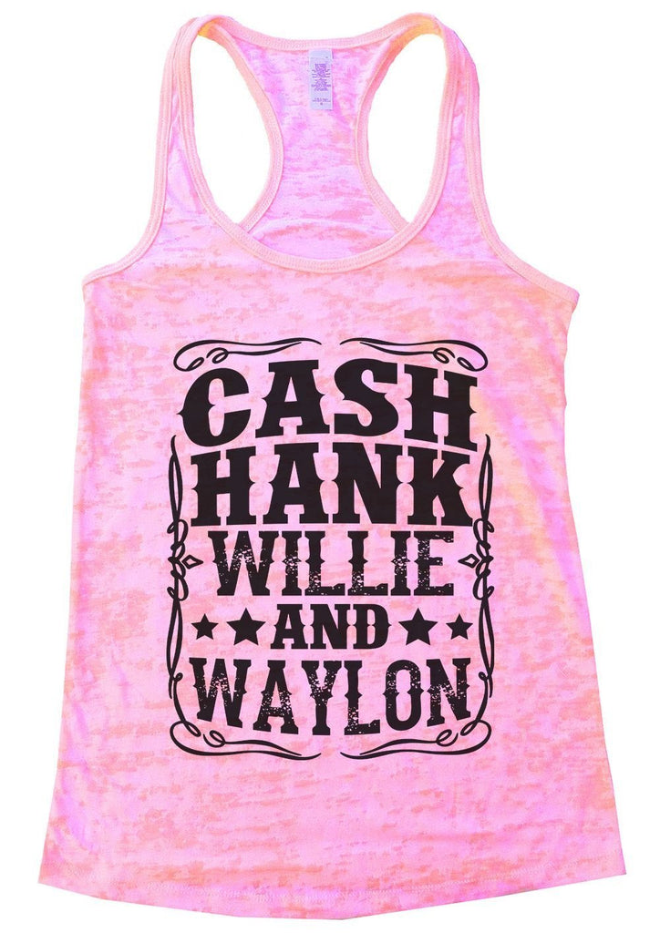 CASH HANK WILLIE AND WAYLON Burnout Tank Top By Funny Threadz Funny Shirt Small / Light Pink