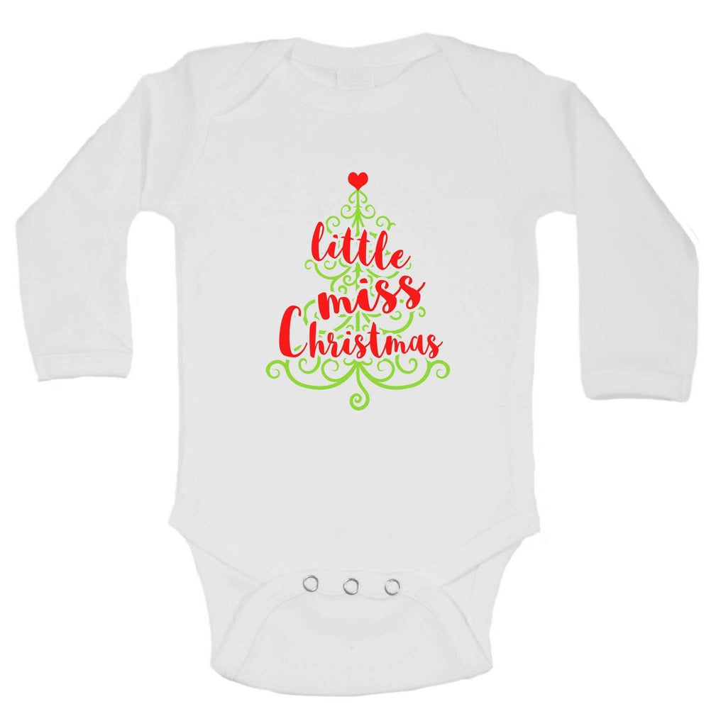 Christmas Onesies - Little Miss Christmas FUNNY KIDS ONESIE Funny Shirt Long Sleeve 0-3 Months