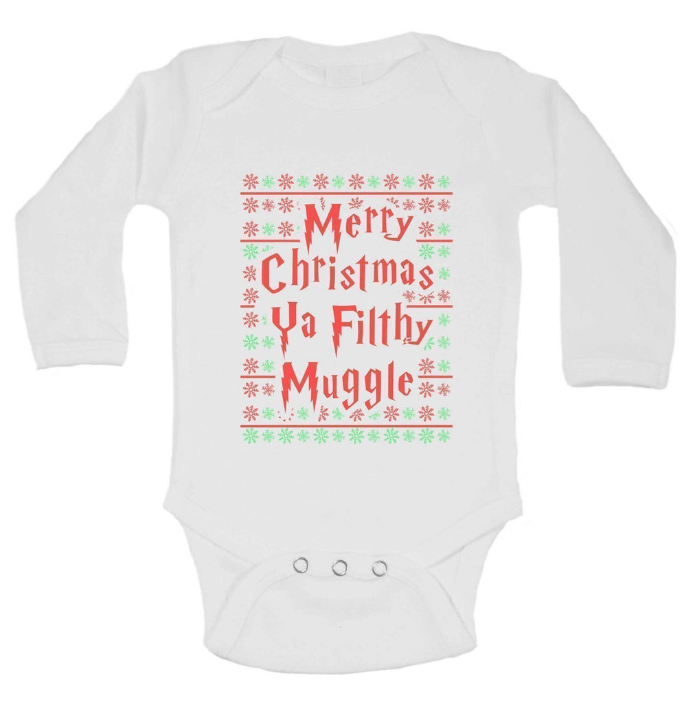Christmas Onesies - Merry Christmas Ya Filthy Muggle FUNNY KIDS ONESIE Funny Shirt Long Sleeve 0-3 Months