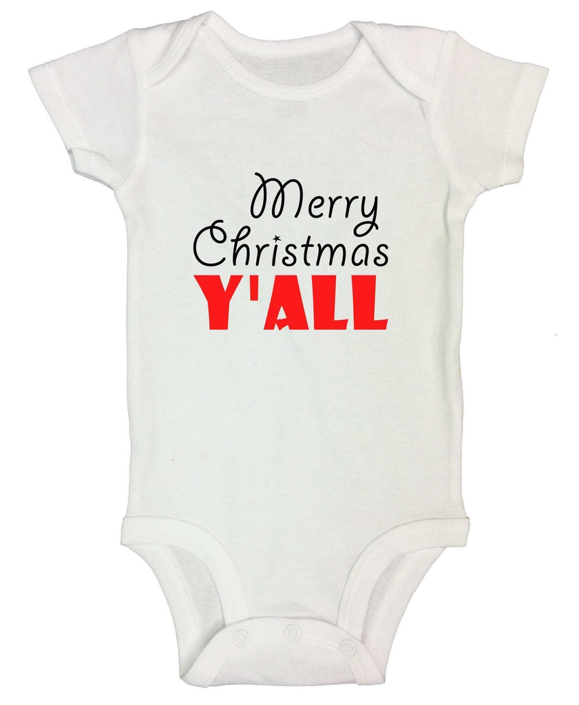 Christmas Onesies - Merry Christmas Y'ALL FUNNY KIDS ONESIE Funny Shirt Short Sleeve 0-3 Months