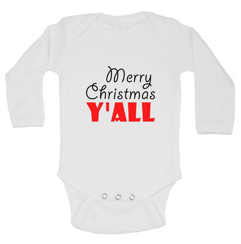 Christmas Onesies - Merry Christmas Y'ALL FUNNY KIDS ONESIE Funny Shirt Long Sleeve 0-3 Months