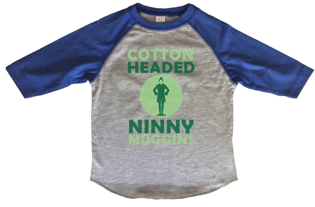 Cotton Headed Ninny Muggins BOYS OR GIRLS BASEBALL 3/4 SLEEVE RAGLAN - VERY SOFT TRENDY SHIRT B253 Funny Shirt 2T Toddler / Blue