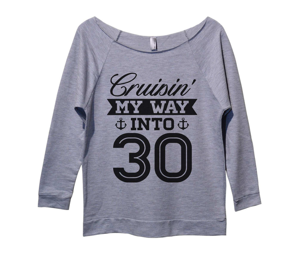 Cruising my way into 30 Womens 3/4 Long Sleeve Vintage Raw Edge Shirt Funny Shirt Small / Grey