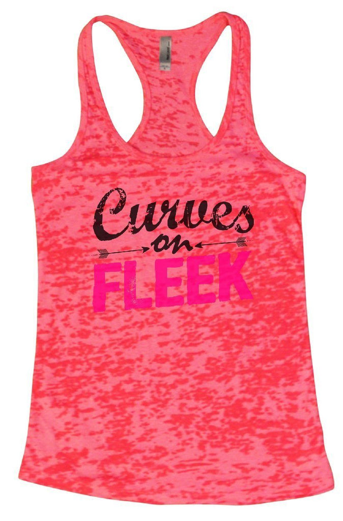 Curves On FLEEK Burnout Tank Top By Funny Threadz Funny Shirt Small / Shocking Pink