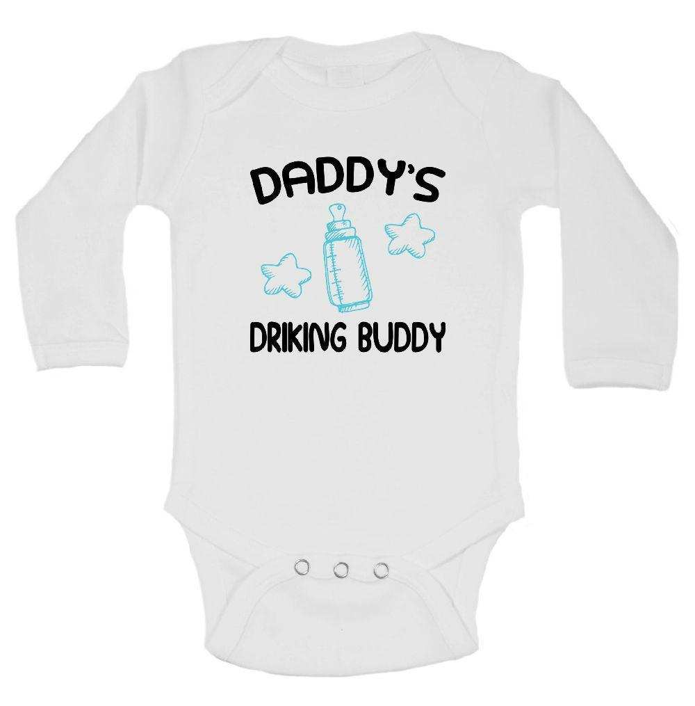 Daddy's Drinking Buddy Funny Kids Onesie Funny Shirt Long Sleeve 0-3 Months
