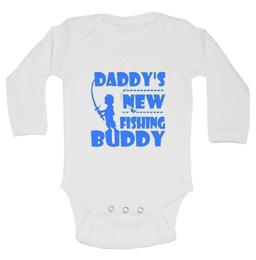 Daddy's New Fishing Buddy Funny Kids Onesie Funny Shirt Long Sleeve 0-3 Months