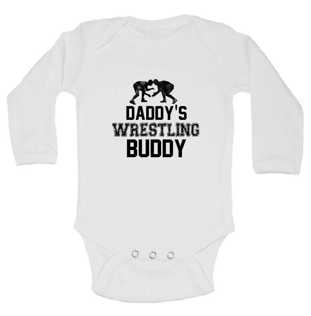 Daddy's Wrestling Buddy Funny Kids Onesie Funny Shirt Long Sleeve 0-3 Months