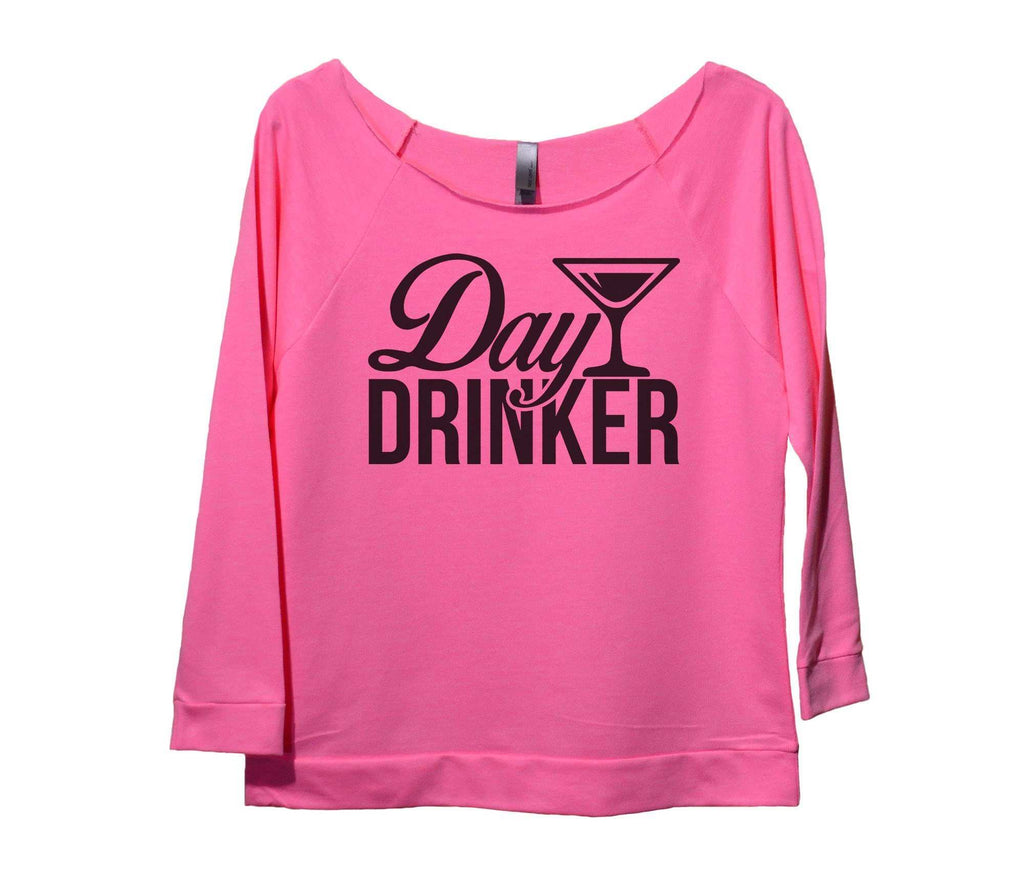 Day Drinker Womens 3/4 Long Sleeve Vintage Raw Edge Shirt Funny Shirt Small / Pink