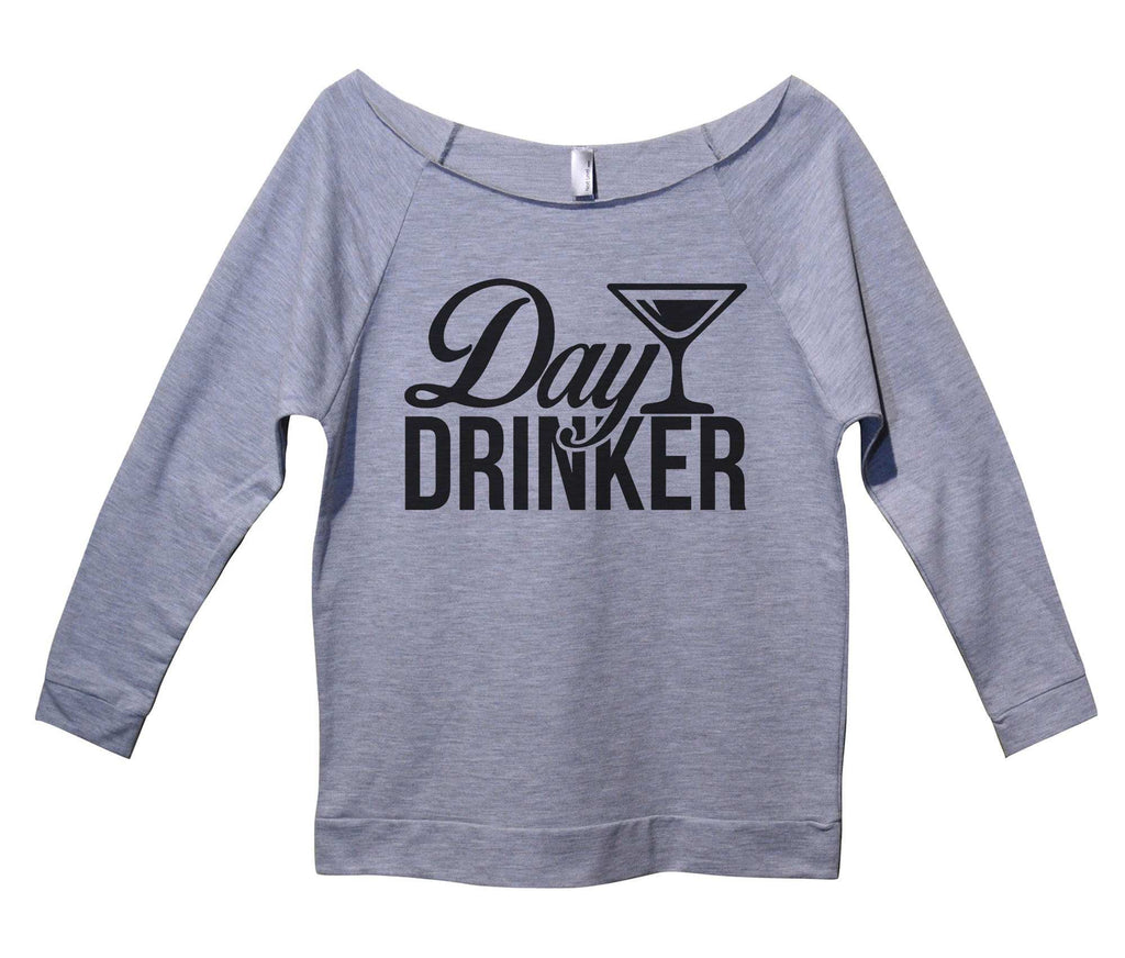 Day Drinker Womens 3/4 Long Sleeve Vintage Raw Edge Shirt Funny Shirt Small / Grey