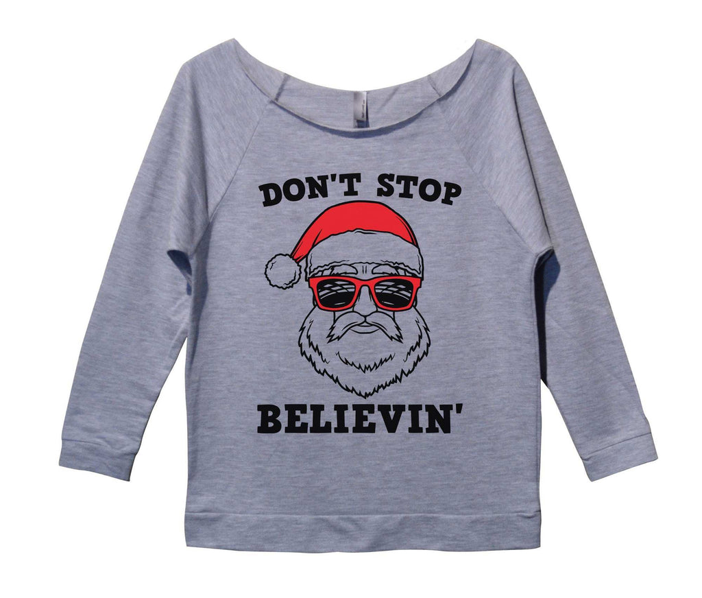 Don 39 t stop believin 39 womens 3 4 long sleeve vintage raw for Raw edge t shirt women s