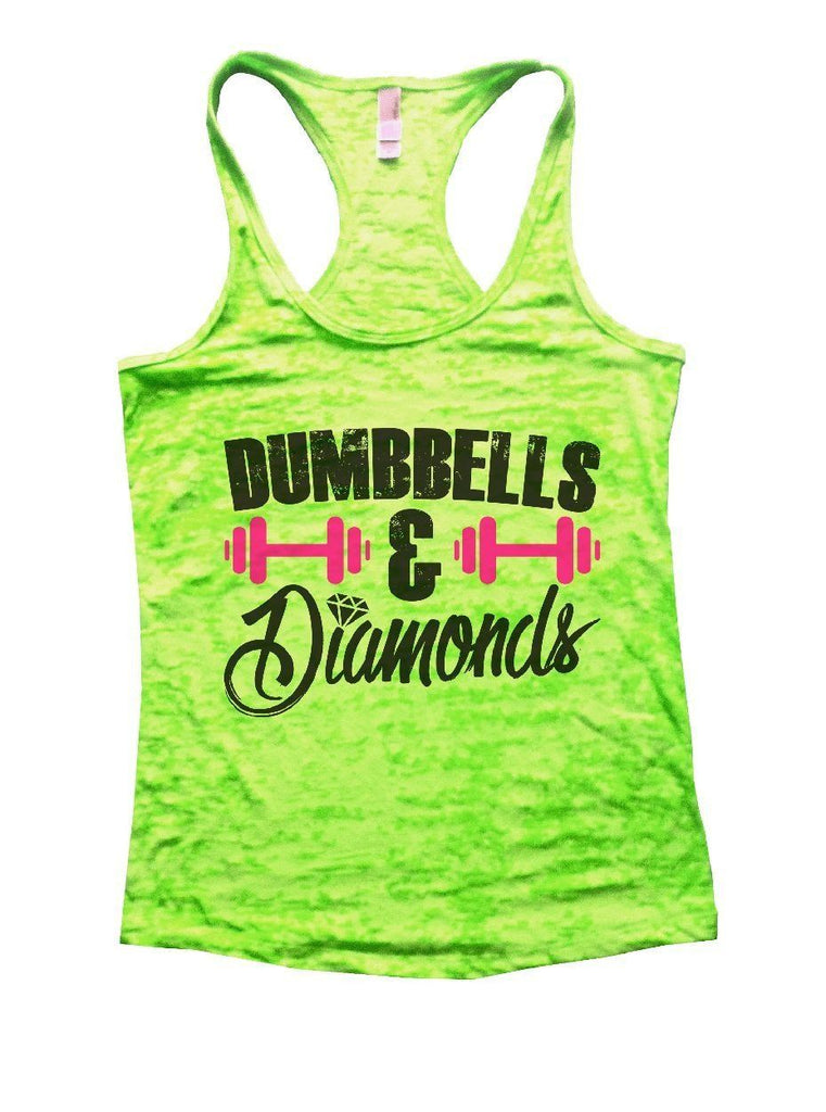DUMBBELLS & Diamonds Burnout Tank Top By Funny Threadz Funny Shirt Small / Neon Green