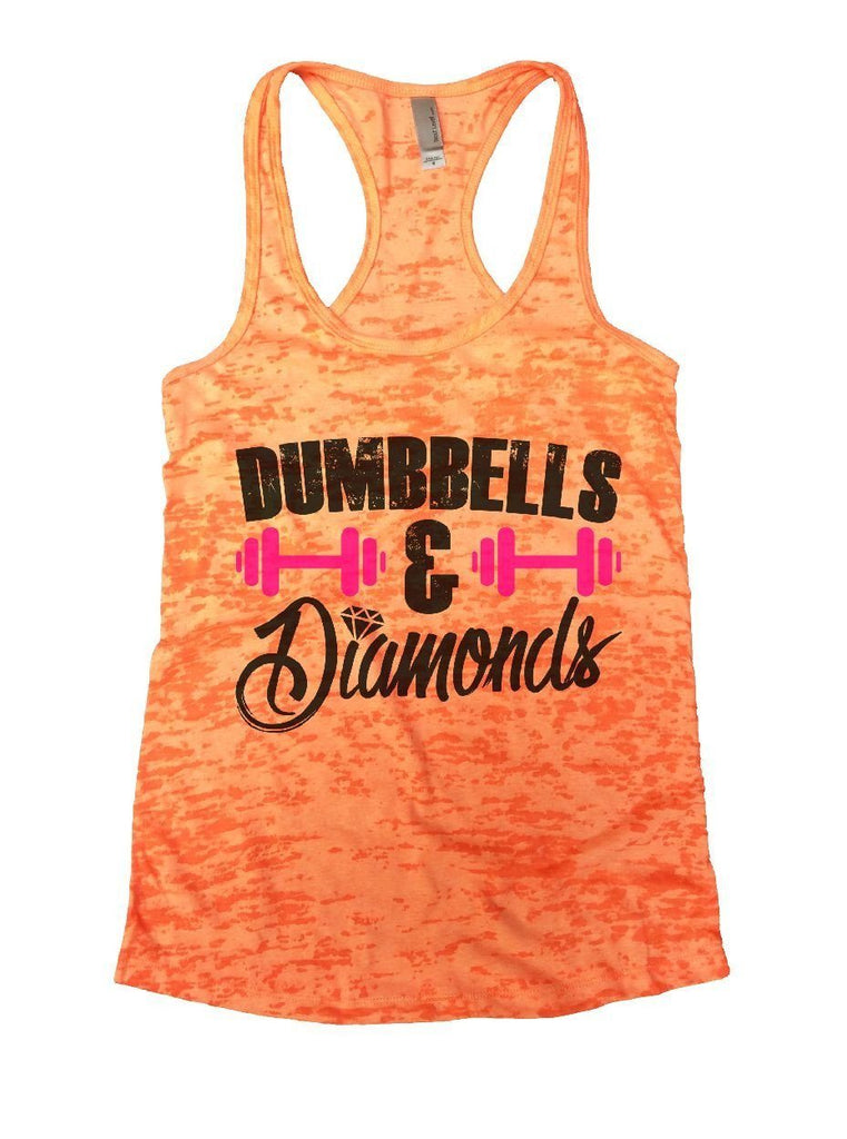 DUMBBELLS & Diamonds Burnout Tank Top By Funny Threadz Funny Shirt Small / Neon Orange