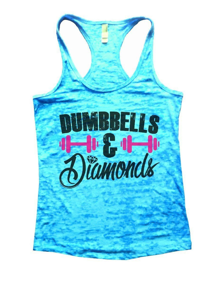 DUMBBELLS & Diamonds Burnout Tank Top By Funny Threadz Funny Shirt Small / Tahiti Blue