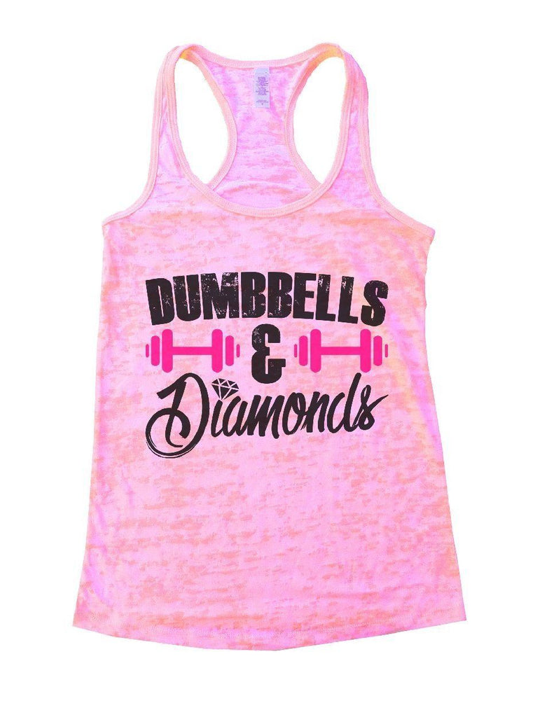 DUMBBELLS & Diamonds Burnout Tank Top By Funny Threadz Funny Shirt Small / Light Pink
