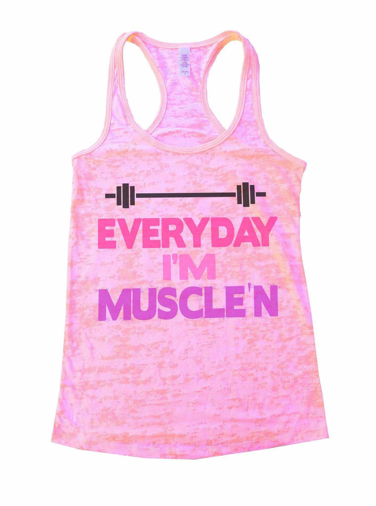 Everyday I'm Muscle'n Burnout Tank Top By Funny Threadz Funny Shirt Small / Light Pink