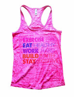 Exercise Daily Eat Healthy Work Hard Build Faith Stay Positive Burnout Tank Top By Funny Threadz Funny Shirt Small / Shocking Pink