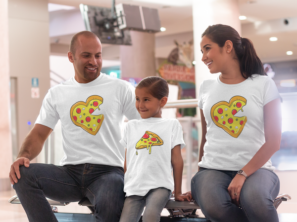 Whole Pizza and Little Slice Matching Shirt Family Sets Adult & Youth Italian Pizzeria Funny Shirt