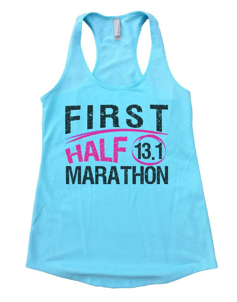 FIRST HALF 13.1 MARATHON Womens Workout Tank Top Funny Shirt Small / Cancun Blue
